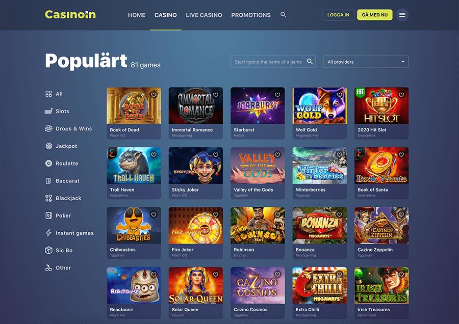 Casinoin är ett casino med ett brett spelutbud