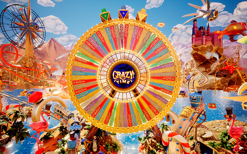 Spela live casino game show Crazy Time från Evolution Gaming